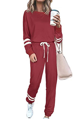 Red Round Neck Long Sleeve Two Piece Pants Set