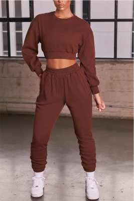 Brown Round Neck Long Sleeve Two Piece Sport Set