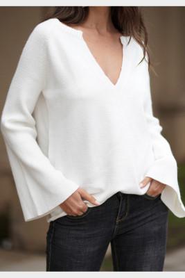 White V-Neck Long Sleeve Knitted Sweater