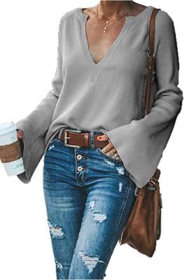 Dark Gray V-Neck Long Sleeve Knitted Sweater