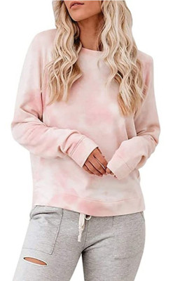 Pink Tie-dye O-Neck Long Sleeve Top
