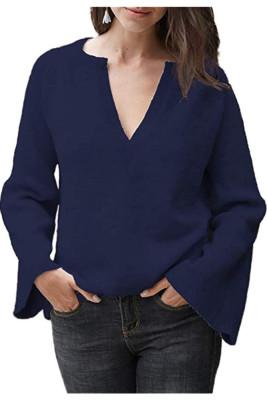 Navy V-Neck Long Sleeve Knitted Sweater