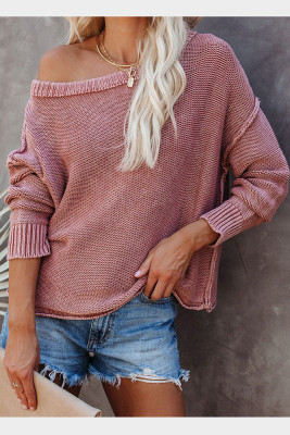 Pink Round Collar Long Sleeve Knitted Sweater