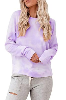 Purple Tie-dye O-Neck Long Sleeve Top