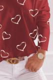 Red Printed Off Shoulder Long Sleeve Top