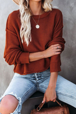 Coffee Round Collar Long Sleeve Knitted Sweater