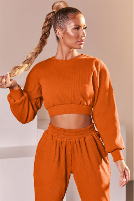 Orange Round Neck Long Sleeve Two Piece Sport Set