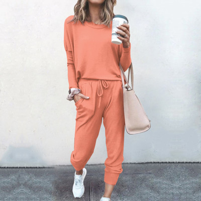 Orange Loose Long-sleeved Casual Two Pieces Suit
