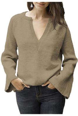 Khaki V-Neck Long Sleeve Knitted Sweater