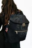 Black Double Pockets Backpack