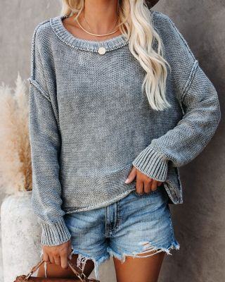 Gray Round Collar Long Sleeve Knitted Sweater