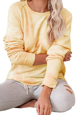 Yellow Tie-dye O-Neck Long Sleeve Top
