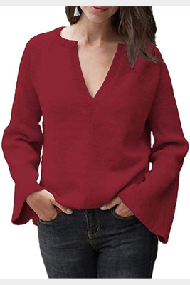 Wine Red V-Neck Long Sleeve Knitted Sweater