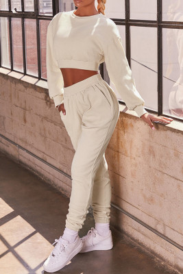 Apricot Round Neck Long Sleeve Two Piece Sport Set