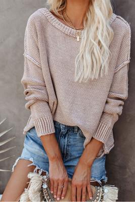 Khaki Round Collar Long Sleeve Knitted Sweater