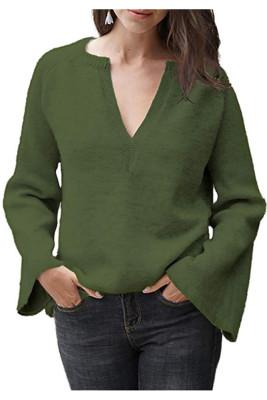 Drak Green V-Neck Long Sleeve Knitted Sweater