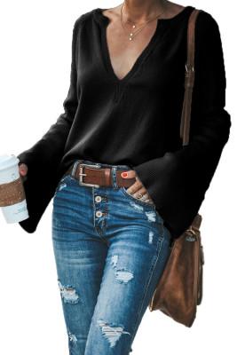 Black V-Neck Long Sleeve Knitted Sweater