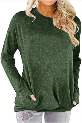 Army Green Crew Neck With Pockets Long Sleeve Top