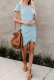 Light Blue O-Neck Short Sleeve Dress