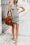 Gray O-Neck Short Sleeve Dress