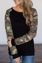 Black Camouflage Long Sleeve Top