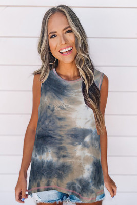 Yellow Tie-Dye Round Collar Tank Top
