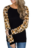 Black Leopard Long Sleeve Top