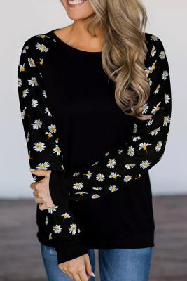 Black Daisy Long Sleeve Top