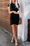 Black O-Neck Short Sleeve Dress