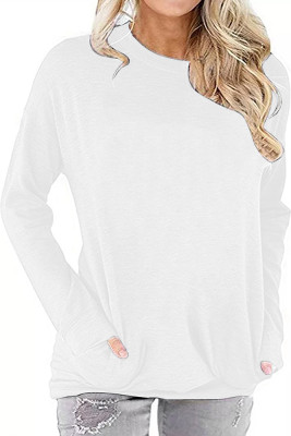 White Crew Neck With Pockets Long Sleeve Top