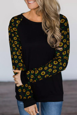 Black Sunflower Long Sleeve Top