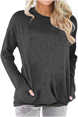 Gray Crew Neck With Pockets Long Sleeve Top