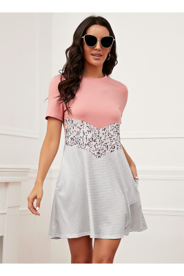 Pink Leopard Printed Short Sleeve Dress