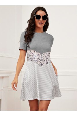 Gray Leopard Printed Short Sleeve Dress