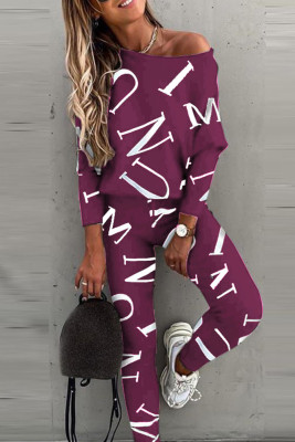 Purple Letter Printed Off Shoulder Long Sleeve Two Piece Pants Set