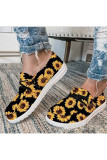 Sunflower Print Lace Up Shoes