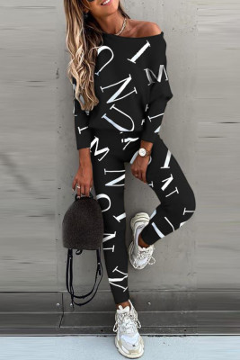 Black Letter Printed Off Shoulder Long Sleeve Two Piece Pants Set
