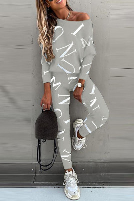 Gray Letter Printed Off Shoulder Long Sleeve Two Piece Pants Set