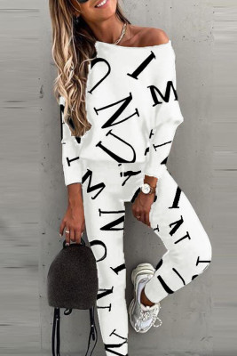 White Letter Printed Off Shoulder Long Sleeve Two Piece Pants Set