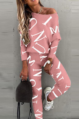 Pink Letter Printed Off Shoulder Long Sleeve Two Piece Pants Set