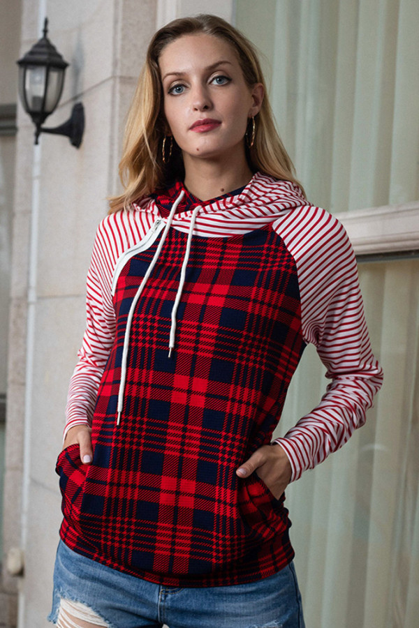 Red Striped Plaid Printed Splicing Pullover Hoodie