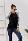 Black Leopard Printed Long Sleeve Pullover Top With Knot