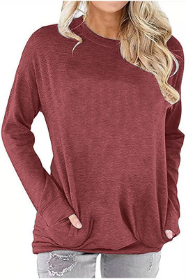Coral Crew Neck With Pockets Long Sleeve Top
