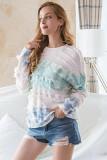 Blue Tie-Dye Crew Neck Tassel Sweater