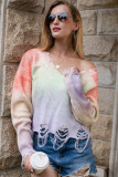 Purple Tie-Dye Printed V-Neck Tassel Knitted Sweater