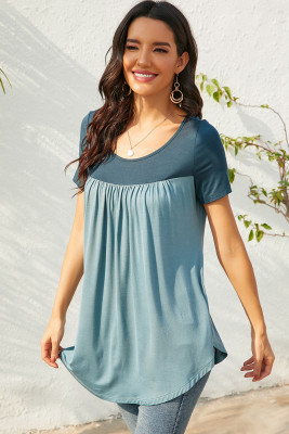 Gray-Green Contrast Pleated Short Sleeve T-shirt