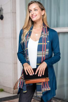 Blue Turn-down Collar Cardigan Coat