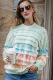 Light Green Tie-Dye Crew Neck Tassel Sweater