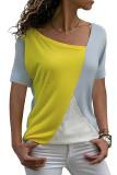Yellow Color Block Round Collar Short Sleeve Top
