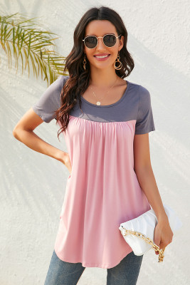 Pink Contrast Pleated Short Sleeve T-shirt
